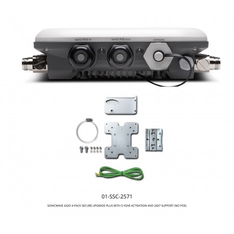 SonicWave 432o 4-Pack Secure Upgrade Plus with 5-Year Activation and 24x7 Support (No PoE Injector) Appliances