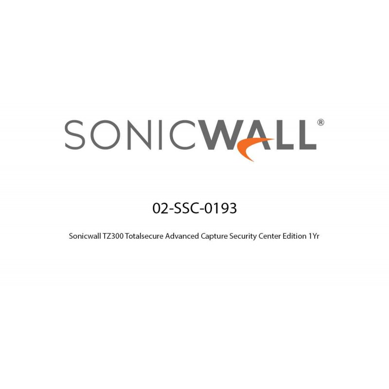 Sonicwall TZ300 Totalsecure Advanced Capture Security Center Edition 1Yr Total Secure Advanced