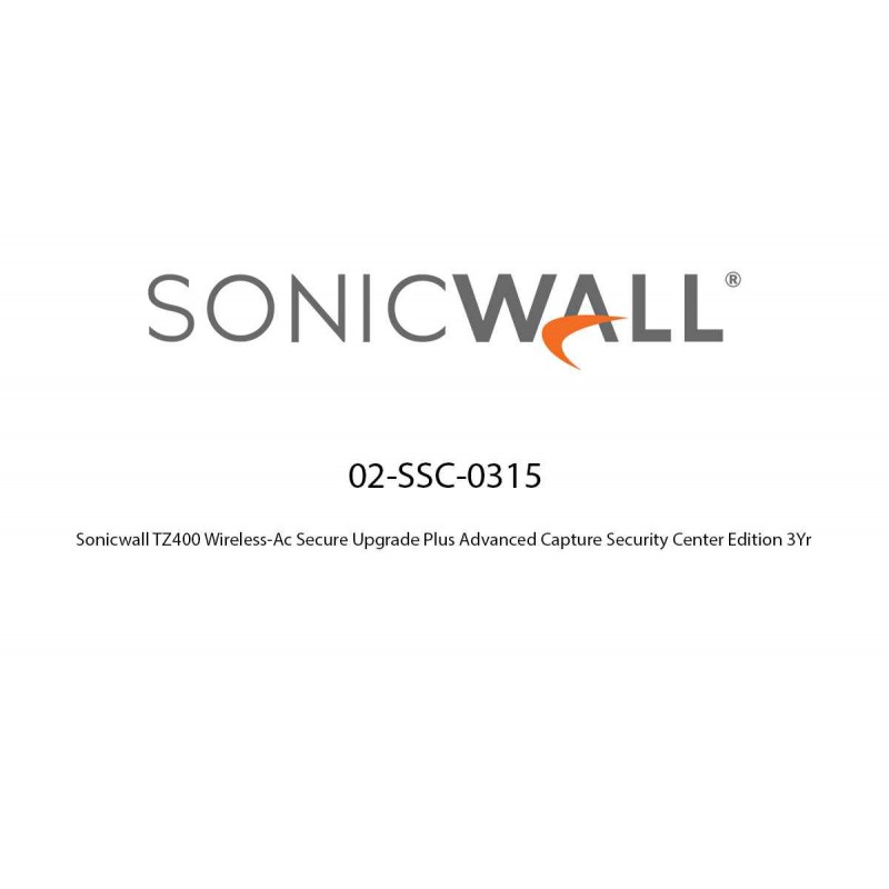 Sonicwall TZ400 Wireless-Ac Secure Upgrade Plus Advanced Capture Security Center Edition 3Yr