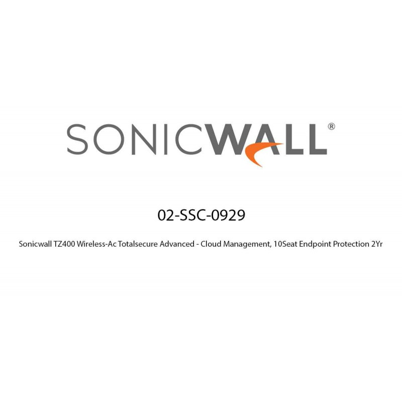 Sonicwall TZ400 Wireless-Ac Totalsecure Advanced - Cloud Management, 10Seat Endpoint Protection 2Yr